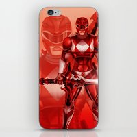 power ranger iPhone & iPod Skins featuring Red Ranger by Isaiah K. Stephens