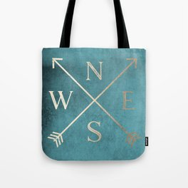 Gold on Turquoise Distressed Compass Adventure Design Tote Bag