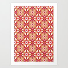 Ethnic Geometric Moroccan Watercolor Seamless Patern 1 Art Print