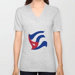 Flag of Cuba 3 -cuban,havana, guevara,che,castro,tropical,central america,spanish,latine Unisex V-Neck