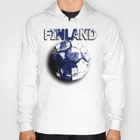 finland Hoodies featuring Old football (Finland) by seb mcnulty