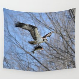 Osprey and Prey - Wildlife Photography Wall Tapestry