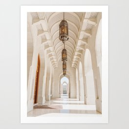 White Marble Arches of the Grand Mosque in Muscat, Oman Art Print