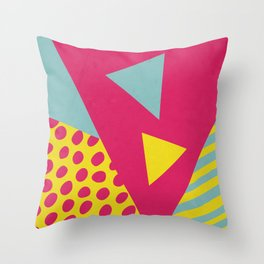 Pink Turquoise Geometric Pattern in Pop Art, Retro, 80s Style Throw Pillow