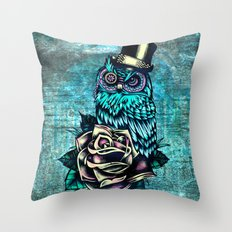 Tattoo style owl with top hat and rose. Rockabilly style.  Throw Pillow