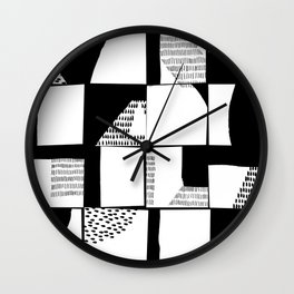 Black and White Typographical Fragmentation Cheater Quilt Wall Clock