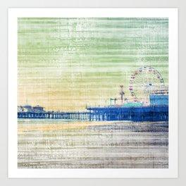 Green grey distressed Canvas effect Santa Monica Pier Art Print