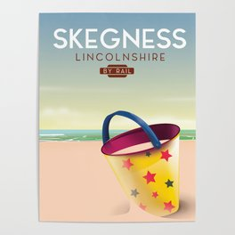 Skegness lincolnshire beach travel poster. Poster