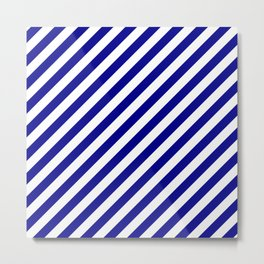 Australian Flag Blue and White Candy Cane Diagonal Stripes Metal Print