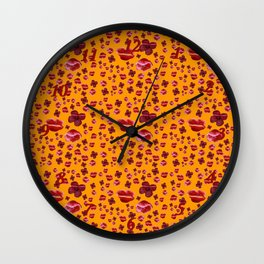 Red poppies on gold Wall Clock