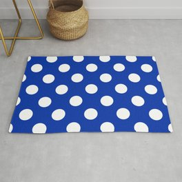International Klein Blue - blue - White Polka Dots - Pois Pattern Rug