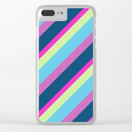 Summer fun Blue pink lime Colorful lines Clear iPhone Case
