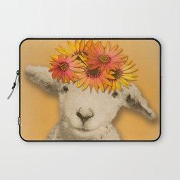 Daisies Sheep Girl Portrait, Mustard Yellow Texturized Background Laptop Sleeve