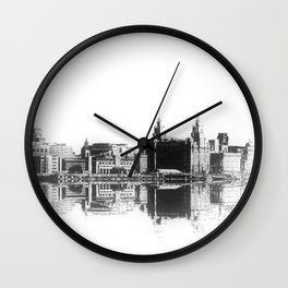 Liverpool Waterfront Skyline (Digital Art) Wall Clock