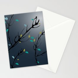 Nightingale singing in the night sky under the moonlight Stationery Cards