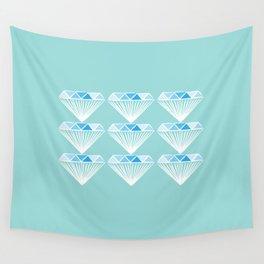 Diamonds Pattern - Blue, Green Wall Tapestry