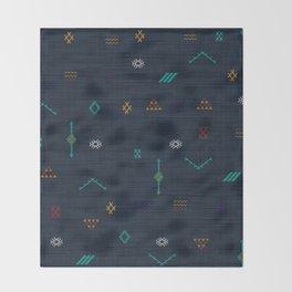 Cactus Silk Pattern in Navy Blue Throw Blanket