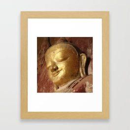 Buddha Head Gold Illustration Framed Art Print