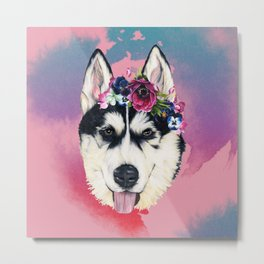 Flower Power  puppy Metal Print