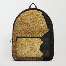 Gold torn & black grunge Backpack