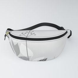 Pantone Pewter Gray Botanicals and Butterfly Graphic Design 2 Fanny Pack