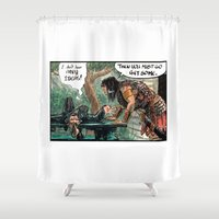 conan Shower Curtains featuring Cromic #62 - Go Get Some! by Rachel Kahn