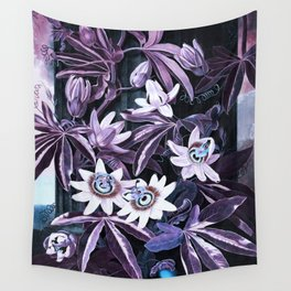 Temple of Flora UltraViolet Mauve Blue Wall Tapestry