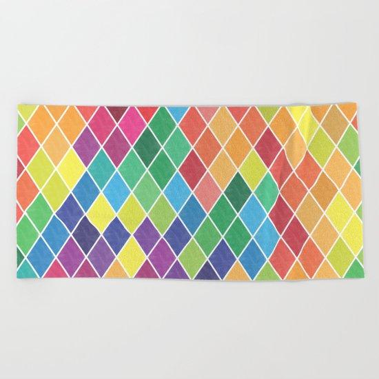 Watercolor Geometric Pattern II Beach Towel