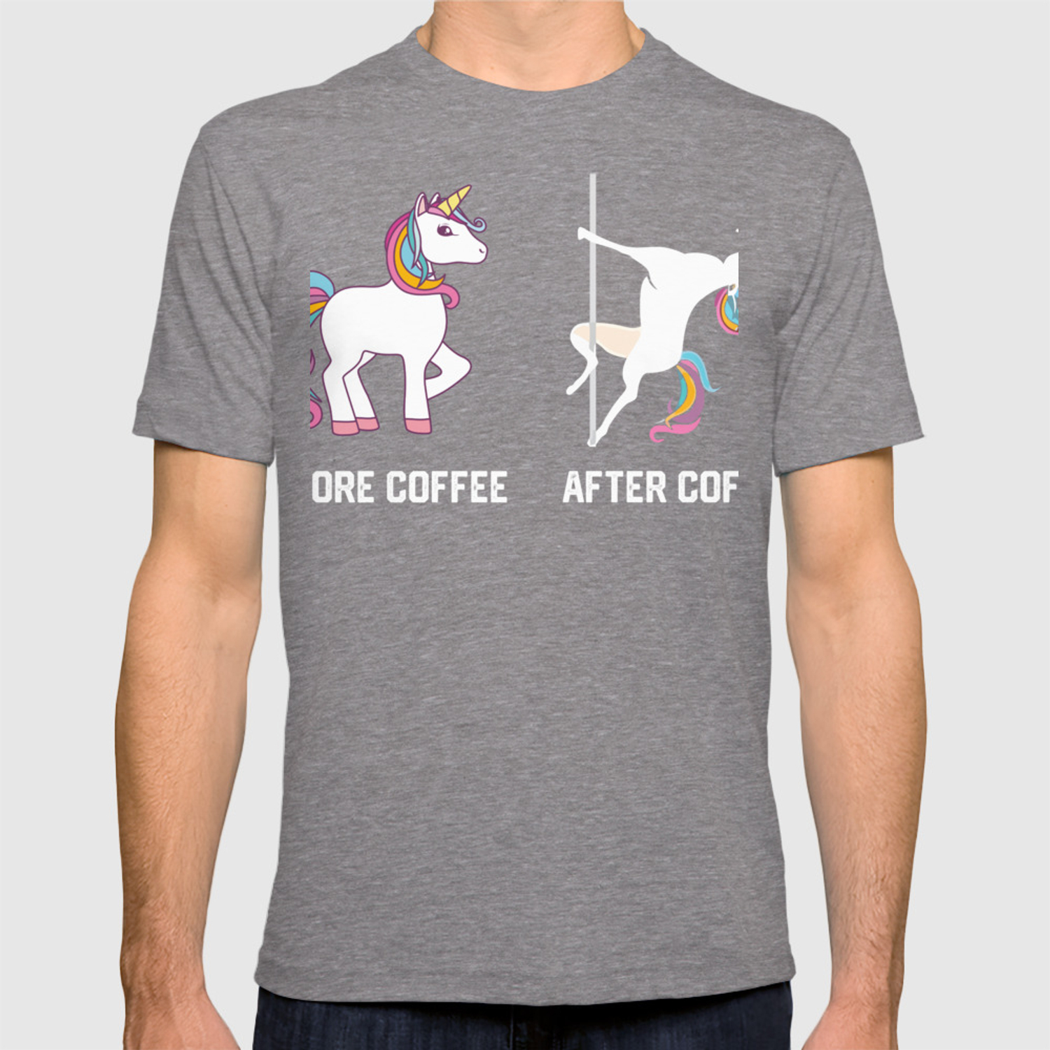 395e10a2 Funny Unicorn Before Coffee After Coffee T-shirts Gift T-shirt by mrsmitful  | Society6