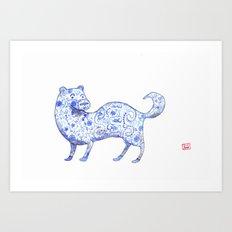 Porcelain Stoat Art Print