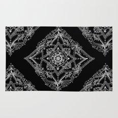 Mandala Doodle Pattern in Black & White Rug