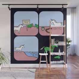 Unicorn And Narwhals As Triceratops Party Wall Mural