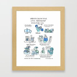 Support Your Independent Bookstore Framed Art Print