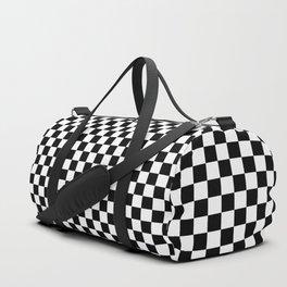 Black White Checks Minimalist Duffle Bag