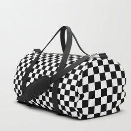 Black And White Checks Minimalist Duffle Bag