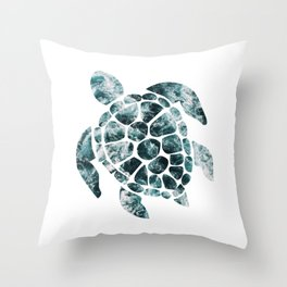 Sea Turtle - Turquoise Ocean Waves Throw Pillow