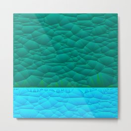 Quilted Sky Blue and Green Two Toned Pattern Metal Print