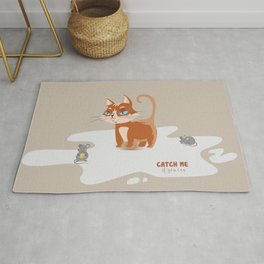 Ginger Cat and Mice Catch me If You Can Rug