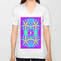 psychedelic V-neck T-shirts featuring psychedelic Floral Fuchsia Aqua by 2sweet4words Designs