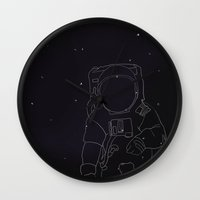 spaceman Wall Clocks featuring Spaceman by Julianne Ess
