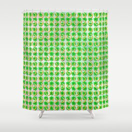 Lucky with gold horseshoes and four leaf clovers Shower Curtain