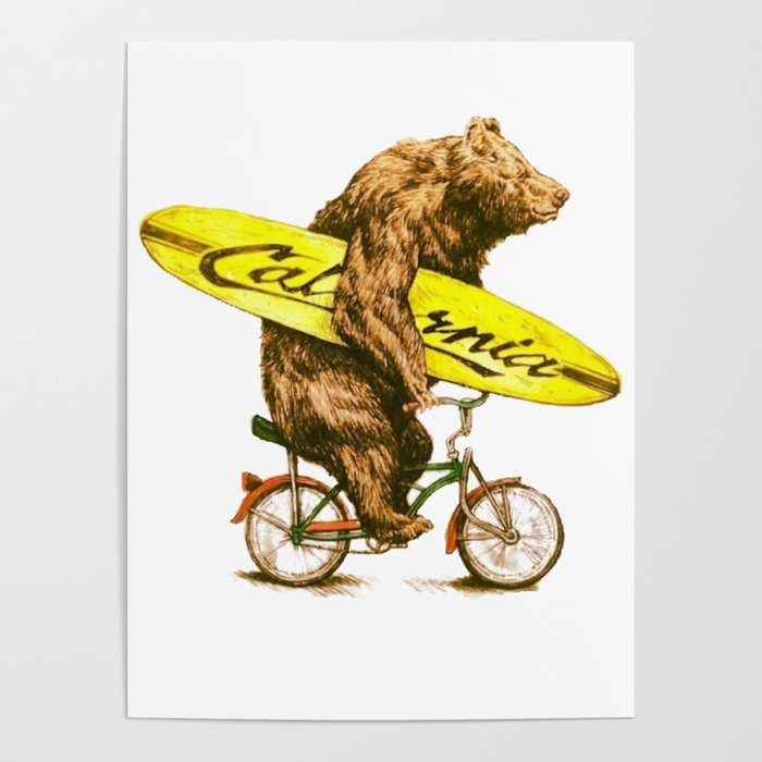 California Bear With Bicycle And Surfboard For Surfers Poster By Mcko2704