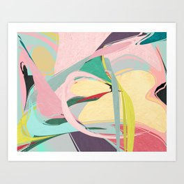 Shapes and Layers no.23 - Abstract Draper pink, green, blue, yellow Art Print