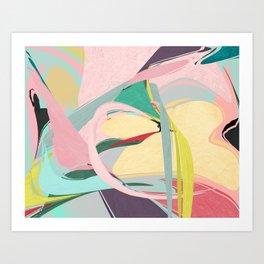 Shapes and Layers no.23 - Abstract Draper pink, green, blue, yellow Art Print