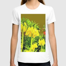 YELLOW CROWN IMPERIAL WATERCOLOR  FLOWERS T-shirt