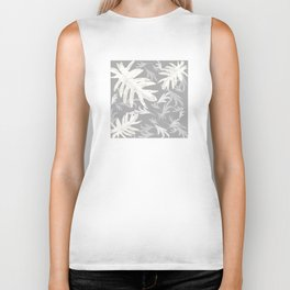 Trio palm leaves. White, silver, light-grey, tropical, autumn, fall, pattern, society6 Biker Tank