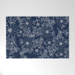 Artistic hand painted navy blue white modern floral Welcome Mat