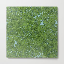 monstera leaves green aquamarine Metal Print