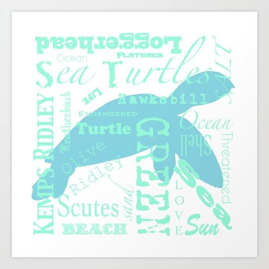 Abstract Sea Turtle Art Print