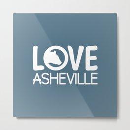 LOVE ASHEVILLE - AVL 13 WHITE ON BLUEGREY Metal Print